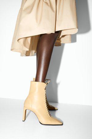 Zara Bottines à talons en cuir avec lacets