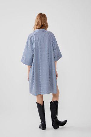 Zara Chemise en popeline à rayures oversize