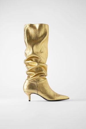 Zara Bottes métallisées à talons kitten heel