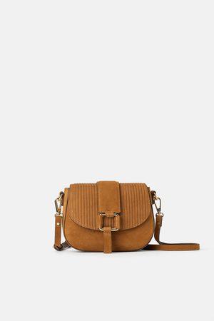 Zara Mini sac bandoulière en croûte de cuir et velours côtelé