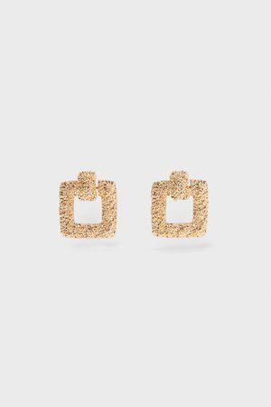 Zara Boucles d'oreilles texturées carrées