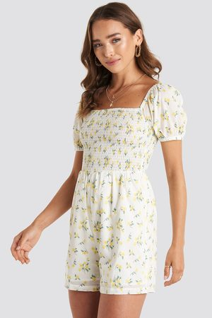 NA-KD Square Neck Shirred Playsuit - Yellow