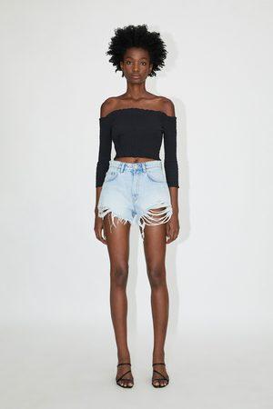 Zara Femme Shorts en jean - Short en jean taille haute avec déchirures