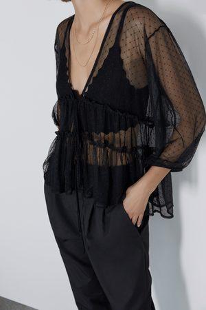 Zara T-shirt en tulle plumetis