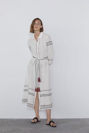 Zara Femme Robes business - Robe chemise brodée