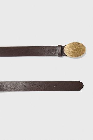 Zara Homme Ceintures - Ceinture en cuir avec plaque