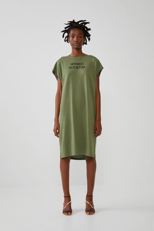 Zara Femme Robes imprimées - Robe à imprimé inscription sur le devant