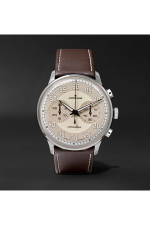 Junghans Homme Montres - Meister Driver Chronoscope 40mm Stainless Steel And Leather Watch
