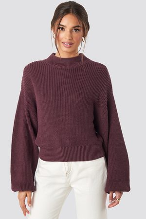 NA-KD Femme Pulls en maille - Volume Sleeve High Neck Knitted Sweater - Red