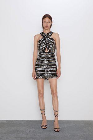 Zara Femme Robes asymétriques - Robe portefeuille à paillettes