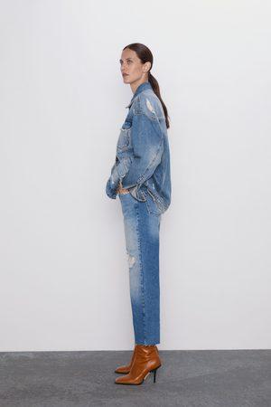 Zara Jean z1975 taille haute droits cropped et déchirés
