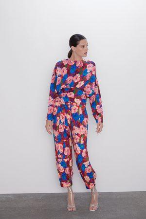 Zara Pantalon avec imprimé floral et ceinture