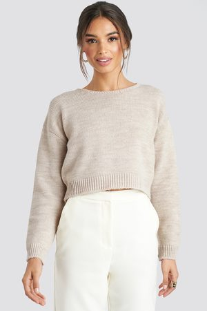 NA-KD Cropped Round Neck Knitted Sweater