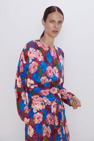 Zara Top drapé à imprimé floral