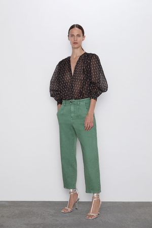 Zara Pantalon effet délavé à pinces