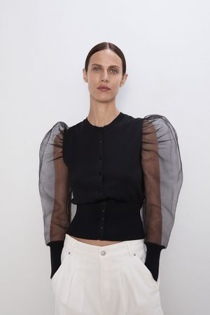 Zara Veste avec manches bouffantes en organza
