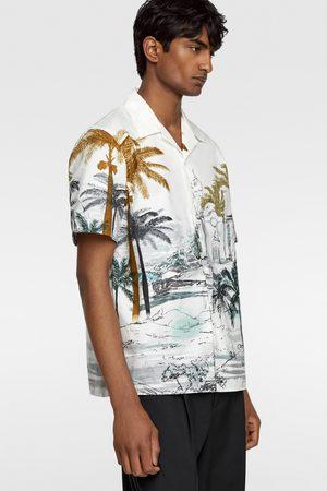 Zara Chemise en popeline à imprimé palmiers