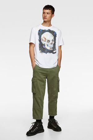 Zara T-shirt à imprimé tête de mort