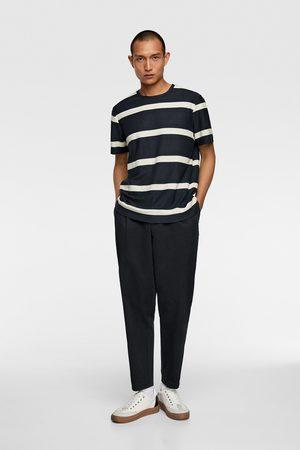 Zara Homme T-shirts - T-shirt en jacquard à rayures