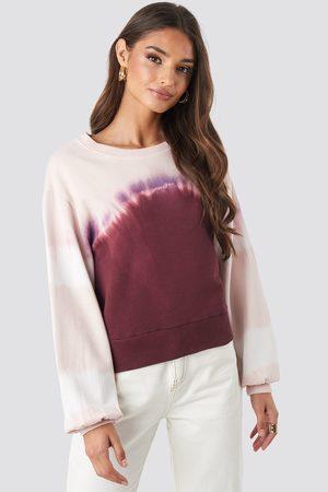 NA-KD Tie Dye Oversized Cropped Sweatshirt - Pink,Purple