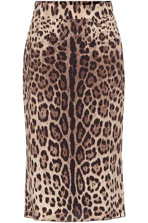 Dolce & Gabbana Femme Jupes imprimées - Jupe crayon imprimée en soie mélangée