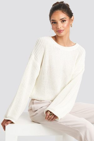 1a33160c2 Cropped Boat Neck Knitted Sweater - White