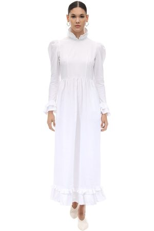 BATSHEVA Long Ruffled Cotton Poplin Dress