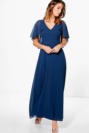 Blue Sequin Cape Grande Taille Robe Longue Taille 18-30