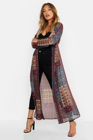 Boohoo Kimono Long Tissé Motif Cachemire