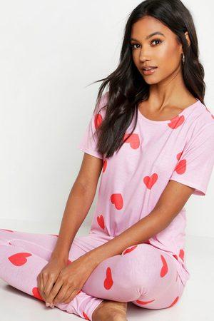 Boohoo Parure De Pyjama Imprimé Cœurs Sur L'Ensemble