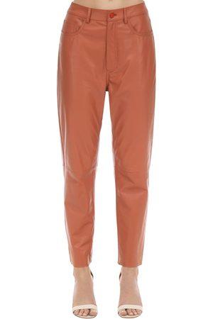 DROME Pantalon Droit En Cuir Taille Haute