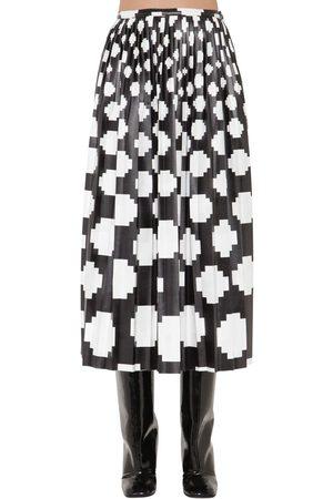 Marni Femme Jupes imprimées - Printed Satin Midi Skirt W/ Pleats
