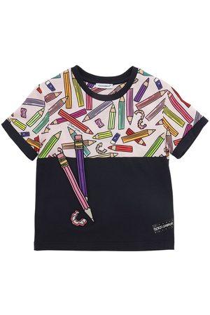 Dolce & Gabbana T-shirt En Jersey De Coton Imprimé Crayons