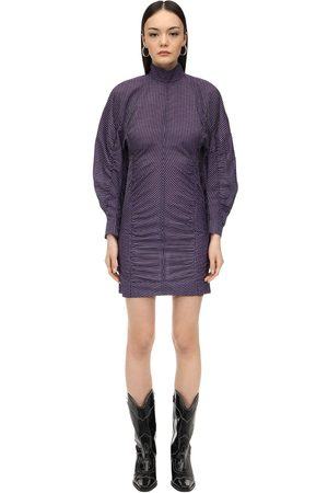 Mini Luisaviaroma Cotton Seersucker Dress Ganni Draped 8nwPOkX0