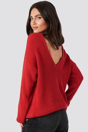 NA-KD Knitted Deep V-neck Sweater - Red