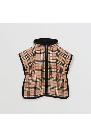 Burberry Fille Manteaux - Poncho à capuche en jacquard de laine mérinos check