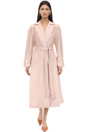 LESYANEBO Femme Trench-coats - Ruffled Faux Leather Trench Coat W/ Belt