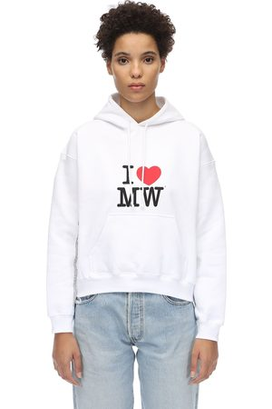 Vetements Sweat-shirt Court En Coton À Capuche