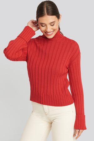 NA-KD Merino Wool Blend Ribbed Sweatshirt - Red