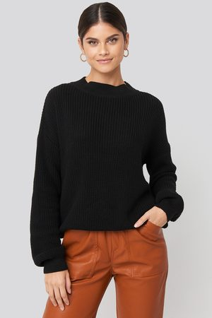 NA-KD Loose Fit Ribbed High Neck Sweater - Black
