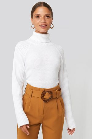 NA-KD High Neck Ribbed Sleeves Sweater - White