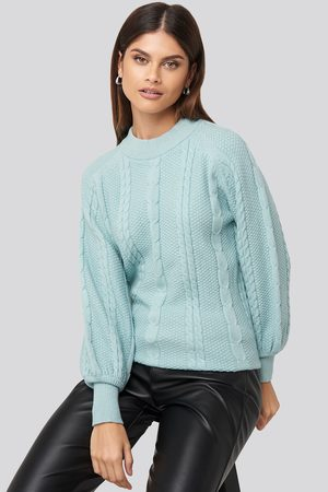 NA-KD Femme Pulls en maille - Balloon Sleeve Cable Knitted Sweater - Blue