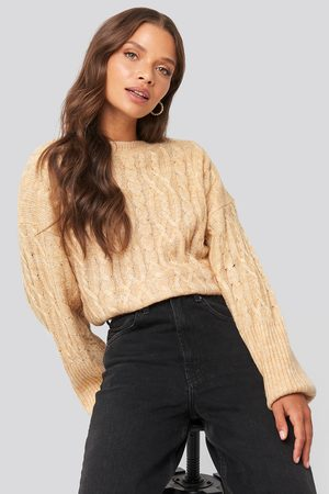NA-KD Cropped Cable Knitted Sweater