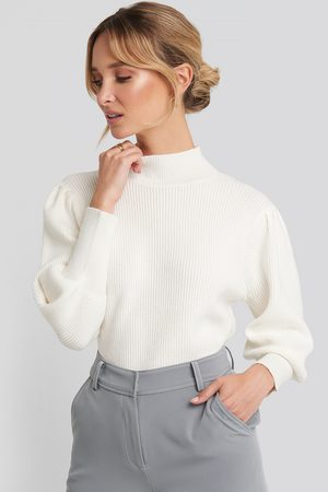 NA-KD Wide Cuff Balloon Sleeve Knitted Sweater - White