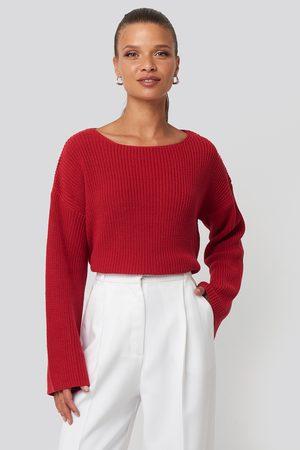 NA-KD Femme Pulls en maille - Cropped Long Sleeve Knitted Sweater - Red