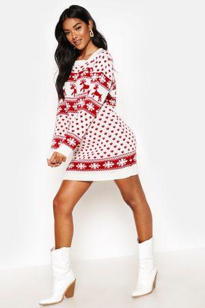 boohoo Robe Pull De Noël Flocos Et Rennes