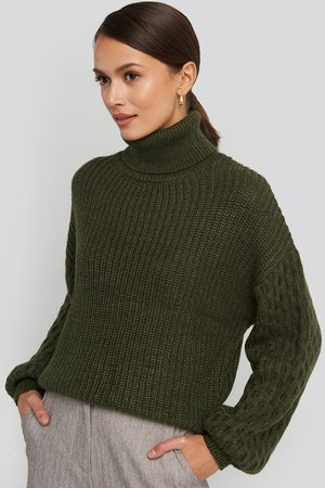 NA-KD Sleeve Detailed Knitted Polo Sweater - Green
