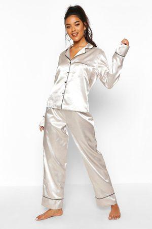 Boohoo Parure De Pyjama Passepoilée Boutonnée En Satin