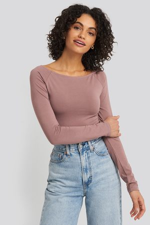 NA-KD Femme Manches longues - Boat Neck Fitted Top - Pink