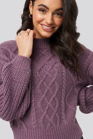 NA-KD Cable Knitted Balloon Sleeve Sweater - Purple